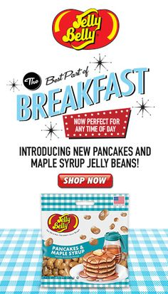 Check out the NEWEST Jelly Belly jelly bean flavor: Pancakes & Maple Syrup! Because Eggs & Sausage would just be wrong. You can buy this delicious new flavor online now at JellyBelly.com.