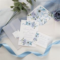 french blue and periwinkle watercolor flower wedding invitations with vellum paper pockets Quince Invitations, Wedding Invitations Online, Pocket Wedding Invitations, Wedding Invitation Suite, Floral Wedding, Wedding Flowers, Elegant Wedding, Wedding Costs, Wedding Events
