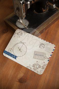 Προσκλητήριο βάπτισης για αγόρι με vintage ποδήλατο carte postale