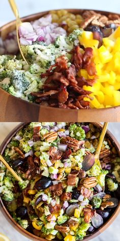 A healthy broccoli salad with bacon is the perfect side dish for summer picnics and BBQs. Loads of flavorful toppings give this healthy broccoli salad a fun twist. This broccoli bacon salad is perfect for paleo and diets.COM Healthy Broccoli Salad, Healthy Salad Recipes, Brocolli Salad, Broccoli Salad With Bacon, Picnic Salad Recipes, Broccoli Cauliflower, Broccoli Casserole, Healthy Recipe Videos, Bacon Recipes