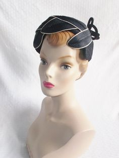 1950's Vintage Navy Blue Straw Hat with Face by MyVintageHatShop