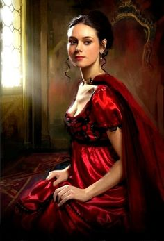"Jon Pauls artwork. ""Her dress was as red as her lips, the color of blood. But that blood that was her inspiration was not her own, but another's."""