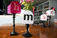 DIY: Target dollar bin mailboxes attached to candlesticks for Valentines!
