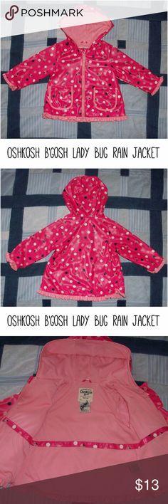 "OshKosh B'gosh pink lady bug polka dot rain jacket OshKosh B'gosh pink lady bug polka dot rain jacket coat size 18M months EUC  Hooded, super cute!  Bust ~25"" Length ~15"" OshKosh B'gosh Jackets & Coats Raincoats"