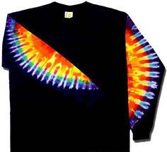 Rainbow Sleeves on Black Tie Dye T Shirt