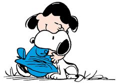 Snoopy Getting a Rare Hug from Lucy