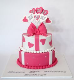 21st Present Birthday Cake. Pink & White with bows & hearts