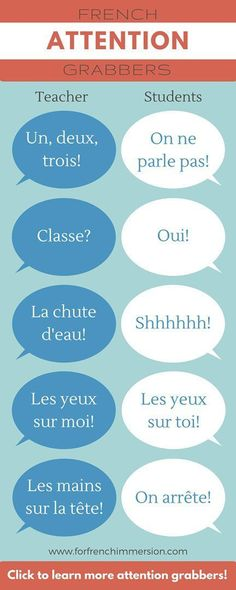 15 French Attention Grabbers - looking for fun and effective ways to grab your students' attention? Check out this list of French attention grabbers and add this strategy to your classroom management bag of tricks! French Teaching Resources, Teaching French, Teaching Spanish, Teaching Ideas, French Flashcards, Whole Brain Teaching, Teaching Reading, French Education, Core French