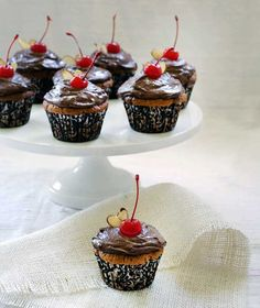 Almond Chocolate Cherry Cupcakes