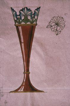 Gustav Gaudernack design for vase in gilt silver with translucent enamel over gullioché silver  and plique -a-jour enamel details. 1895-1900
