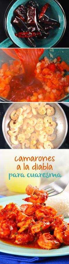 Receta de camarones picositos a la diabla para #cuaresma. Esta receta mexicana con mariscos y chile guajillo se volverá la favorita en tu hogar.