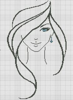 point de croix silhouette visage de fille aux yeux bleus - Cross Stitch girl's face with blue eyes