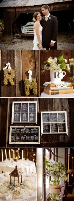 vintage chic wedding pane ideas monogram Barn Wedding with Vintage Charm Chic Wedding, Wedding Events, Rustic Wedding, Our Wedding, Dream Wedding, Wedding Table, Wedding Dreams, Wedding Bells, Wedding Reception