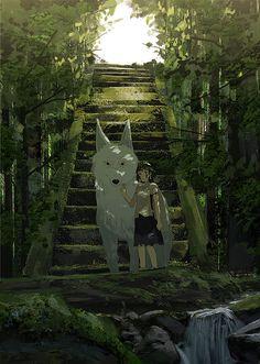Mononoke hime or Princess Mononoke a Japanese anime series. Studio Ghibli Art, Studio Ghibli Movies, Hayao Miyazaki, Film Anime, Anime Art, Totoro, Personajes Studio Ghibli, Japon Illustration, Animation