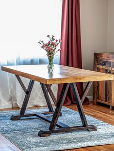 How to build a DIY angled trestle dining table. Free plans by Jen Woodhouse