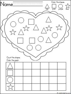 Free shape recognition and graphing activity for February and Valentine's Day. Students practice shape recognition, coloring, and graphing with this adorable heart activity.