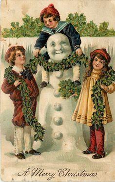 Christmas Victorian Children Play Smiling Snowman Lady Holly Emboss Germany PFB | eBay