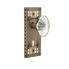 Nostalgic Warehouse Oval Fluted Crystal Glass Interior Mortise Door Knob with Craftsman Plate Finish: