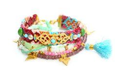 OOAK Swarovski,Tassel Charm,Quartz,Bohemian Indian Boho Chic Gypsy Hippie Multiple Strands Beaded Friendship Bracelet Set Of 6