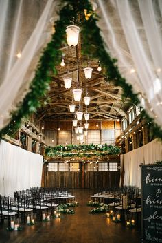 green and white romantic rustic barn winter wedding ideas Modern Rustic Barn Wedding Inspiration Winter Wedding Ceremonies, Winter Wedding Decorations, Wedding Themes, Wedding Events, Winter Weddings, Decor Wedding, Diy Wedding, Wedding Reception, Indoor Wedding