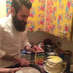 Ricki Hall in the kitchen - full thick dark beard and mustache beards bearded man men cooking tattoos tattooed cake handsome #beardsforever
