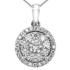 14k white gold 1/2cttw diamond halo cluster pendant
