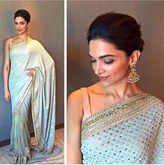 Deepika Padukone In A Light Blue Embroidered Sabyasachi #Saree For The Bajirao Mastani Promotions.