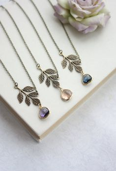 Leaf Necklace. Antiqued Brass Greek Leaf Gold Plated by Marolsha
