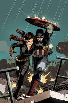 New Avengers #17 - Black Widow and Captain America by Paolo Rivera *
