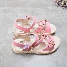 ef5f19a7c24 DIMI 2018 νέα κορίτσια καλοκαίρι παπούτσια παιδικά σανδάλια για τα κορίτσια  PU δέρμα όμορφο λουλούδι μαργαριτάρι