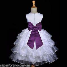 WHITE PLUM PURPLE PAGEANT WEDDING TIERED ORGANZA FLOWER GIRL DRESS 2 3T 4 6 8 10