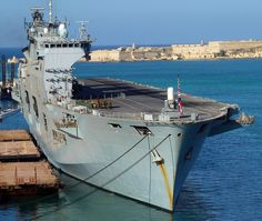 The Royal Navy's amphibious assault ship HMS Ocean in Malta on a break from operations off the Libyan coast