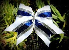 ribbons and bows oh my, red, white, blue cheer bows