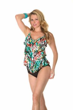 7cc92f8c275e1 Magicsuit By Miraclesuit Ruffle Rita Triple Tier Tankini. This swimwear top  is the anaconda print