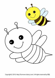 Easy Coloring Pages, Animal Coloring Pages, Coloring Pages For Kids, Drawing Lessons For Kids, Art Drawings For Kids, Art For Kids, Posca Art, Cute Easy Drawings, Bee Cards
