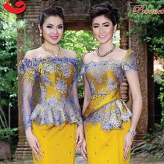 Myanmar Traditional Dress, Thai Traditional Dress, Traditional Outfits, Kebaya Lace, Kebaya Dress, African Fashion Dresses, African Dress, Model Kebaya, Batik Fashion