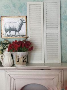 Miniature Dollhouse White Wood Shutters-pair by RibbonwoodCottage