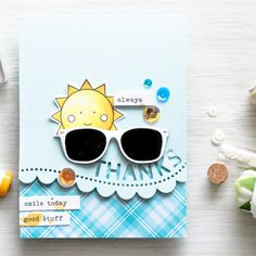 Simon Says Stamp | May Card Kit Showered with Love – Sunglasses Thanks Card by Yana Smakula
