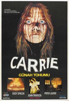 CARRIE Turkish Stephen King, best different art of Sissy Spacek covered in blood! Horror Movie Posters, Movie Poster Art, Horror Movies, Sissy Spacek, Saint Yves, John Travolta, Alfred Hitchcock, Scary Movies, Good Movies
