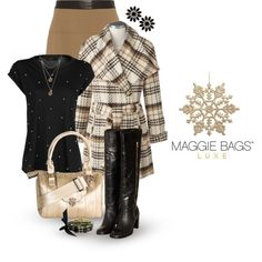 Black, Beige, Tan, Gold and Cream | Skirt and Boots | Fabulous Jacket and Purse
