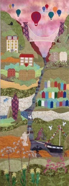 BRISTOL HARBOUR SIDE Stitched/Appliquéd panel 60cm X 160cm Commission