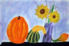Fall Still Life....paint with chalk background