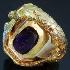Gold Victorian Bishops ring with stunning enamel work and hidden ring with stalking wolf (image 9 of 13)