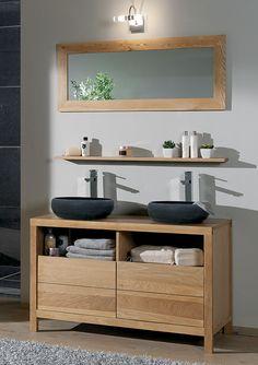 Salle de bains STONE Chêne huile et pierre naturelle. / de chez Cocktail Scandinave mobilier & décoration d'intérieur