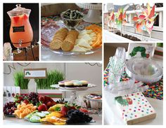 A Very Hungry Caterpillar baby shower with food from the book.  Simple!