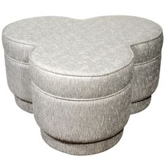 1940's Luxe Hollywood Ottoman/Pouf with Stylized Trefoil Design