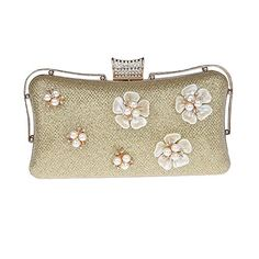 Glitter Floral Rhinestone Beaded Gold Evening Clutch Bags Purse Wedding Handbag C * Check out the image by visiting the link. Note: It's an affiliate link to Amazon