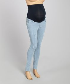 Love this Gray Pinstripe Over-Belly Maternity Straight-Leg Jeans by Mom & Co. on #zulily! #zulilyfinds