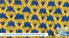 Example of the Slipstitch Crosses Stitch Right Side - Video for right and left-handed plus pdf instructions.