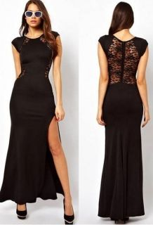 Wholesale Zanzea® Lace & Knitting Patchwork Side Slit Open Long Dresses